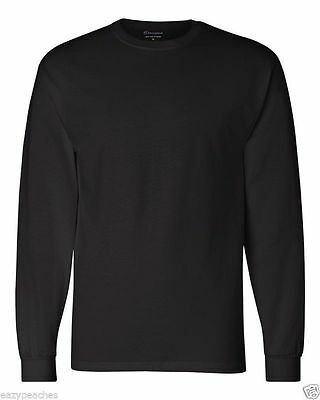 Champion NEW CC8C Mens Size S-2XL Long Sleeve Tagless Cotton Gym Workout T-Shirt 10