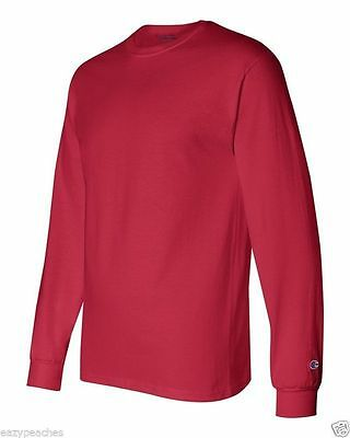 Champion NEW CC8C Mens Size S-2XL Long Sleeve Tagless Cotton Gym Workout T-Shirt 7