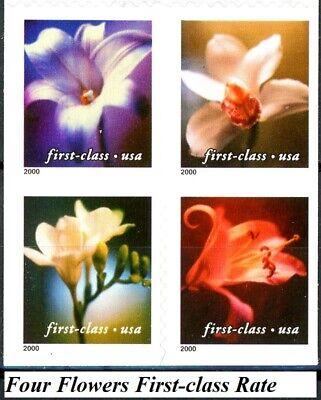4 Flowers First-Class Block of 4 MNH on Original Backing Scott's 3454 to 3457 2