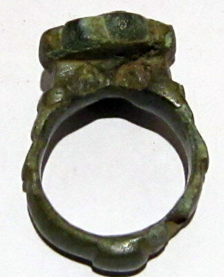 Beautiful Post-Medieval Bronze Ring With Engraving On The Top # 86A 8