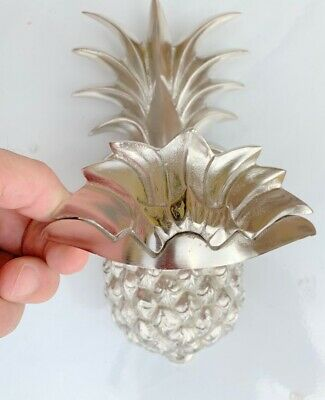 "PINEAPPLE front Door Knocker SILVER solid brass 10"" old style 25 cm very heavy B 4"