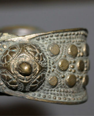 Antique Greek Medieval Bronze Fertility Folk Art Hand Made Bracelet 11
