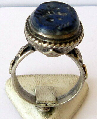 Antique Amazing Ottoman Silver Lapis Lazuli Intaglio Gem Personal Seal Ring # 31 3