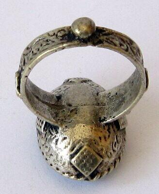 Antique Amazing Ottoman Silver Lapis Lazuli Intaglio Gem Personal Seal Ring # 31 8