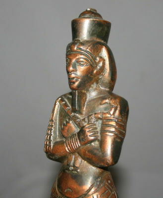 Vintage Hand Made Egyptian Pharaoh Metal Copper Plated Figurine Statuette 10