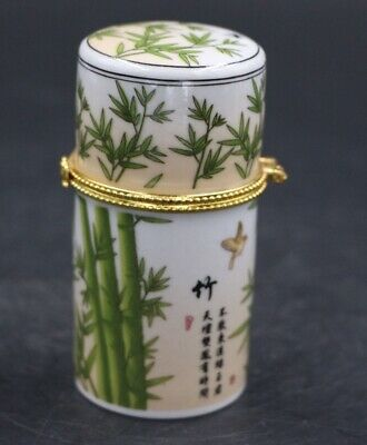 Chinese Porcelain bamboo Toothpick Box Holder Storage Lucky Jewelry Box 2