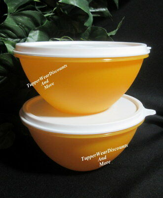 Tupperware New Set of 2 Small 3 Cup Wonderlier Bowls Goldenberry w White Seals 2