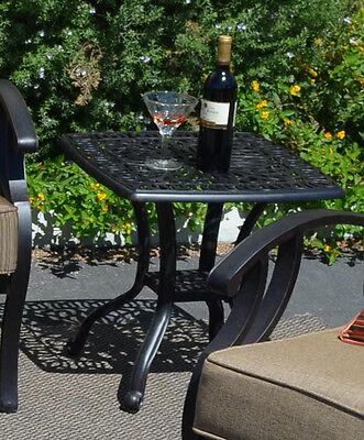 Outdoor End Table Patio Furniture Cast Aluminum Elisabeth Rust Free
