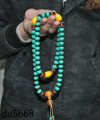 """16""""Old Tibetan Buddhism temple Beeswax turquoise Exorcism amulet necklace statue 5"""