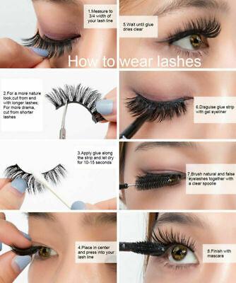 5 Pair 3D Mink False Eyelashes Wispy Cross Long Thick Soft Fake Eye Lashes UK 5