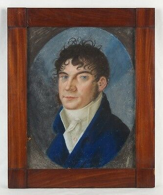 19th C. French Empire Pastel Painting on Parchment Handsome Gentleman in Cravat 2