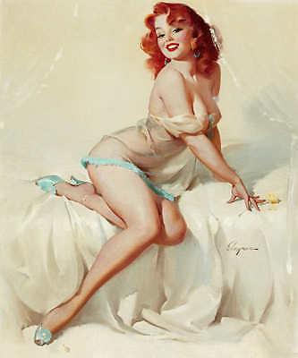 "1950s Elvgren Red Head PinUp Girl Poster /""Fascination/"" 24x30"