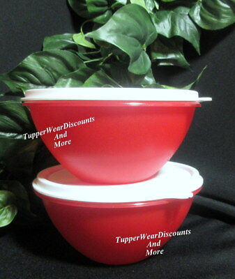 Tupperware New Rare Set 2 Small 3 Cup Wonderlier Bowls Bright Red w White Seals 4