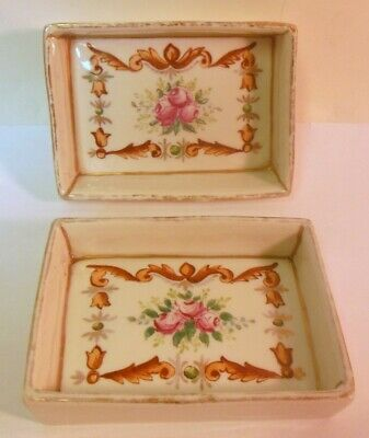 VINTAGE FRENCH TIN candy vanity trinket jewelry box roses stylish lady boudoir vichy