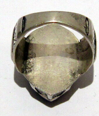 Post Medieval Silver Ring With Nice Engraving And Lapis Lazuli On The Top # 465 9