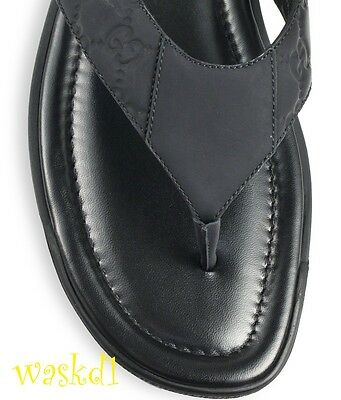 c0310278d ... GUCCI mens 11G black GUCCISSIMA Leather BEACH flip-flop Thong sandals  NIB Auth 6