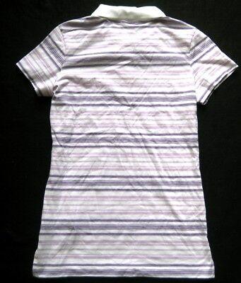 NIKE Damen Poloshirt in Weiß-Lila gestreift / Gr. S / NEU