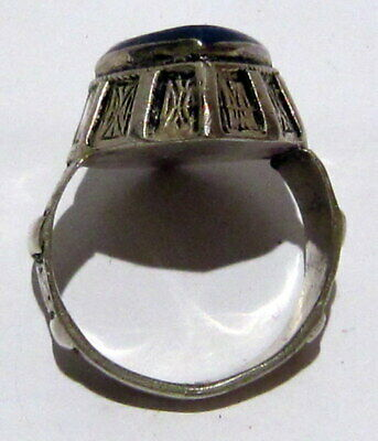Post Medieval Silver Ring With Nice Engraving And Lapis Lazuli On The Top # 465 10