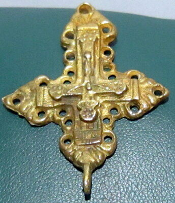 Outstanding Post Medieval Silver Cross Pendant, Gold Plated, Crucifixion # 776 3