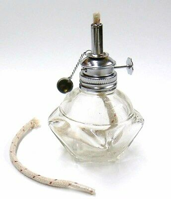 "Alcohol Lamp Burner Glass Spirit Lamp with 3/16"" Adjustable Wick + 1 Extra Wick"