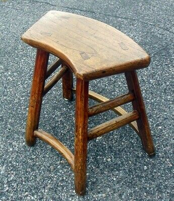Antique Chinese Chestnut Bench Table Chair 18-19th C. Curved Seat 4
