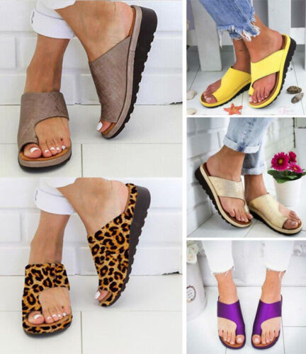Womens Comfy Flat shoes Sandals Shoes Slipper - PU LEATHER - Bunion Corrector 2