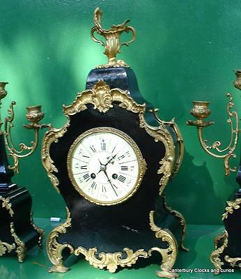 ANTIQUE JAPY FRERES 8 DAY ORMOLU ROCOCO BOULLE TYPE CANDELLABRAS CLOCK SET 1880c 5