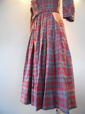 c1ec507cbb4c1 ... Nos Vintage 50s Red Plaid Belted Shirt Pleated Peter Pan Collar Dress  Rockabilly 7