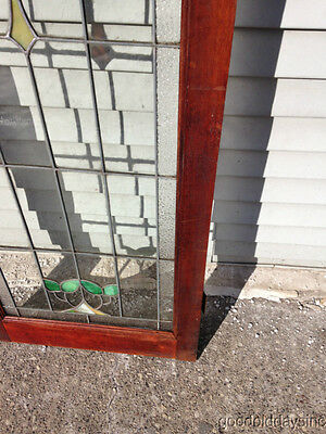 """Antique Chicago Stained Leaded Glass Cabinet Door / Window 48"""" by 20"""" 5"""