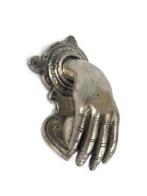 """hand fist ball SILVER brass Door Knocker hand fingers 6 """" inches long FIST 3"""