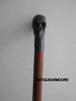 "Wooden folding Walking Cane/Stick 36"" BLACK Antique Finish Skull Head 2"