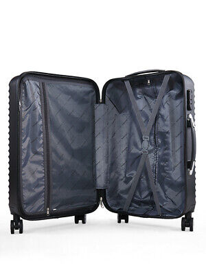 3 Piece Luggage Set Trolley Travel Suitcase Nested Spinner ABS+PC w/ Cover Black 6