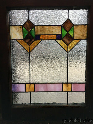 "Antique 1920s Chicago Bungalow Stained Leaded Glass Window 24 3/4"" by 20"" 8"