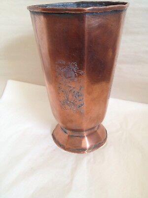 Persian Vintage Antique 8 Sided Copper Vase Etched Floral Rare 6