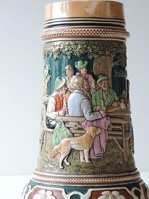 Alter Keramik Krug Bierkrug Kanne Bierkanne Um Ca. 1900