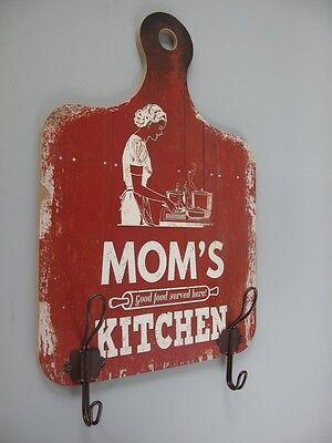 Garderobe Wandhaken +Schild Holz Mom's Kitchen Garderoben Haken Vintage Ästhetik 3