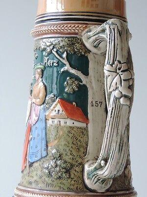 Alter Keramik Krug Bierkrug Kanne Bierkanne Um Ca. 1900 5