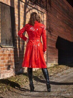 Lackmantel Lack Mantel Rot Glänzend Bodenlang Vinyl Größe 32-58 XS XXXL