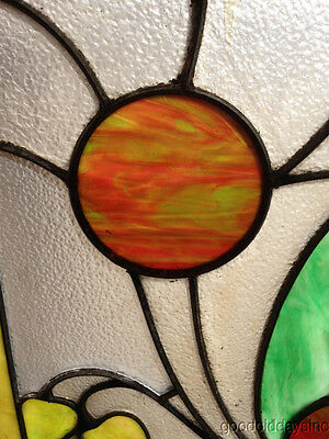 """Antique Prairie Style Stained Glass Window 27"""" by 20"""" 3"""
