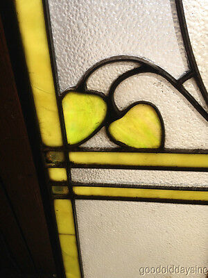 """Antique Prairie Style Stained Glass Window 27"""" by 20"""" 9"""