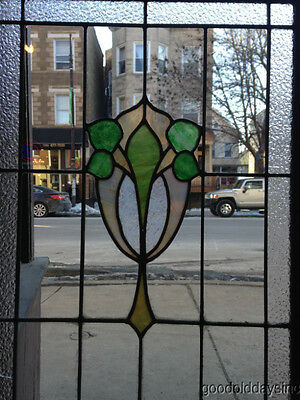 """Antique Chicago Stained Leaded Glass Cabinet Door / Window 48"""" by 20"""" 8"""