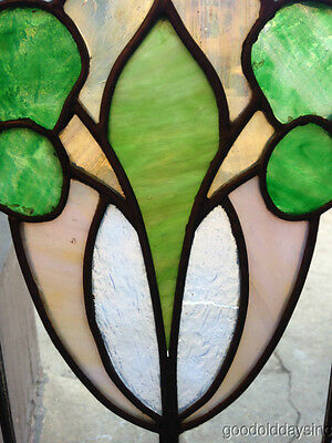 "Antique Chicago Stained Leaded Glass Cabinet Door / Window 48"" by 20"" 11"