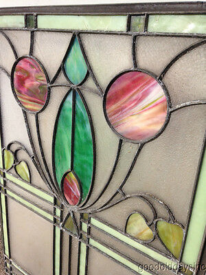 """Antique Prairie Style Stained Glass Window 27"""" by 20"""" 12"""