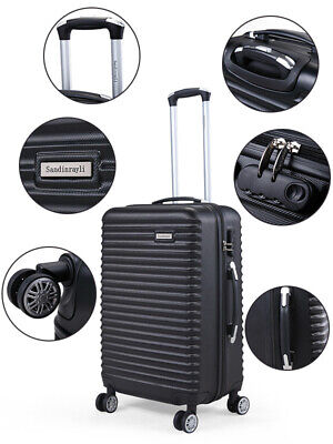 3PCS Luggage Set Carry On Trolley Suitcase Travel Spinner ABS+PC w/Cover Black 4