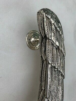 """used ANGEL WING 14"""" hollow SILVER plated over 100% real brass door pull handle 5"""