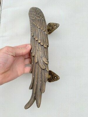 2 ANGEL cast heavy WINGS hollow soild brass door pull old style natural aged 7