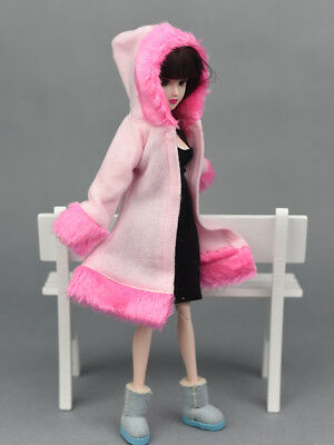 Kid Playhouse Toy Doll Accessories Winter Wear Pink Coat Clothes For 1/6 Doll 12