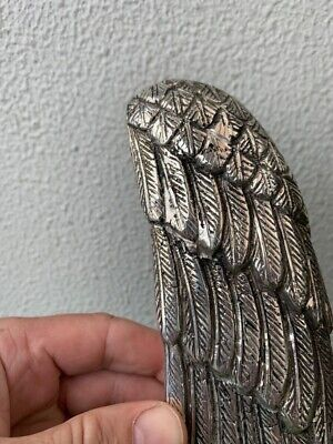 """ANGEL WING 14"""" hollow SILVER plated over 100% real brass door pull handle B 9"""