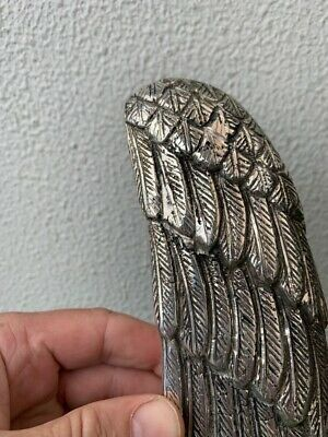 """used ANGEL WING 14"""" hollow SILVER plated over 100% real brass door pull handle 9"""