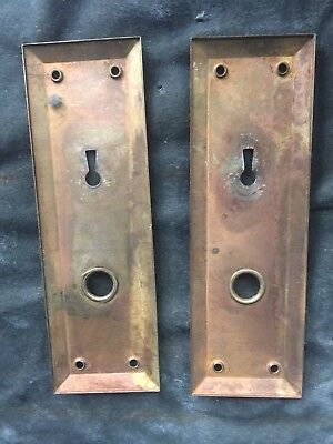 2 Vintage Antique Door Knob Back Plates With Lock